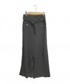 Ameri()の古着「サイドボタンワイドパンツ」 ブラック