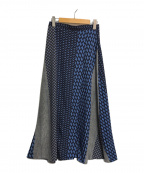 UNITED ARROWS(ユナイテッドアローズ)の古着「マルチプリントラップスカート」|ブルー