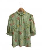 Lois CRAYON(ロイスクレヨン)の古着「花柄シアーブラウス」|グリーン