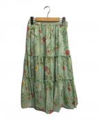 Lois CRAYON(ロイスクレヨン)の古着「花柄ロングティアードスカート」|グリーン