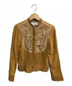 Lois CRAYON(ロイスクレヨン)の古着「スウェードフリルジャケット」|ブラウン