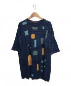 M.&KYOKO()の古着「半袖デザインニット」|ネイビー