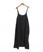 KAGURA(カグラ)の古着「リネンレーヨンキャミソールジャンパースカート」|ブラック