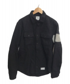 ()の古着「フランネルスリーブラインシャツ」 ブラック