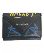 BALENCIAGA(バレンシアガ)の古着「PAPER ZA MINI WALLET GRAFFITI」|ブラック