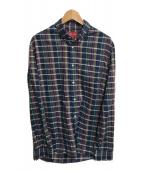 ()の古着「チェックシャツ」 ネイビー×グリーン