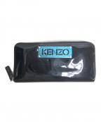 KENZO(ケンゾー)の古着「プレートロゴエナメルラウンドジップウォレット」 ブラック