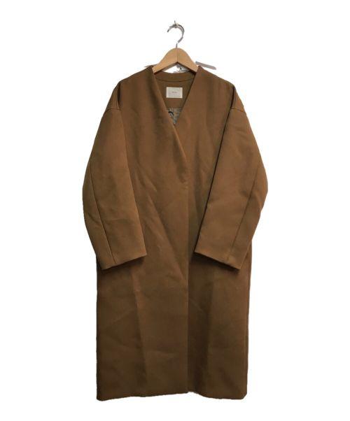 IENA(イエナ)IENA (イエナ) ノーカラーコート ブラウン サイズ:36の古着・服飾アイテム