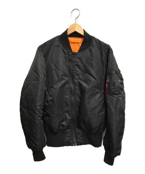 ALPHA(アルファ)ALPHA (アルファ) リバーシブルフライトジャケット ブラック×オレンジ サイズ:Mの古着・服飾アイテム