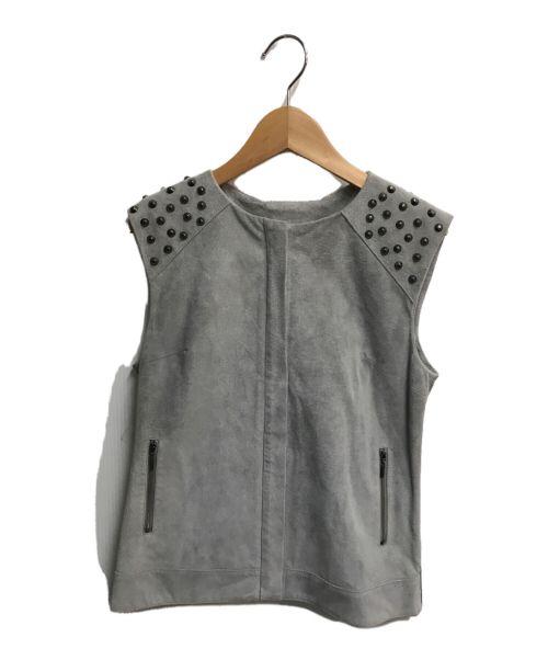 ESTNATION(エストネーション)ESTNATION (エストネーション) スリーブレススタッズスウェードジャケット グレー サイズ:38の古着・服飾アイテム