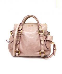 MIU MIU(ミュウミュウ)の古着「2WAYサイドリボンレザーバッグ」|ピンク
