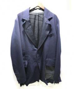 TAKAHIROMIYASHITA TheSoloIst.(タカヒロミヤシタザソロイスト)の古着「カットオフレザーポケット切替ウールジャケット」|ブラウン