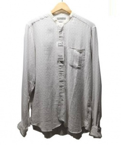 BOGLIOLI(ボリオリ)の古着「ノーカラーシャツ(バンドカラーシャツ)」|ブルー×ホワイト