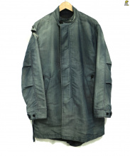 The FRANKLIN TAILORED(ザ・フランクリンティラード)の古着「ウォッシュUSED加工スタンドカラーコート(ステンカラーコー」 インディゴ