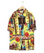 HOLLYWOOD RANCH MARKET(ハリウッドランチマーケッド)の古着「総柄アロハシャツ」|ブラック×イエロー