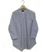 R&D.M.Co-OLDMANS TAILOR(アールアンドディー エム コー オールドマンズテーラー)の古着「ノーカラーシャツ」|ブルー