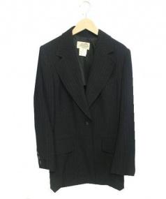 HERMES(エルメス)の古着「Hロゴボタンストライプテーラードジャケット」|ホワイト×ブラック