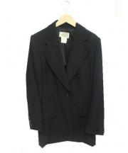 HERMES(エルメス)の古着「Hロゴボタンストライプテーラード ジャケット」|ホワイト×ブラック