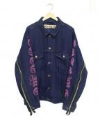 cotemer(コートメル)の古着「リメイク袖プリント&ZipGジャン」 ネイビー