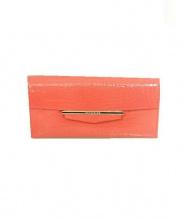 ANTEPRIMA(アンテプリマ)の古着「エナメル型押しフラップ長財布」|ピンク