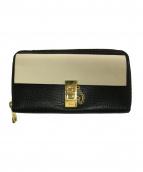 Chloe(クロエ)の古着「ラウンドファスナー長財布」|ブラック×ベージュ
