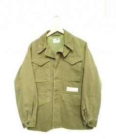GANGSTERVILLE(ギャングスターヴィル)の古着「ヴィンテージラバープリントミリタリージャケット」|カーキ