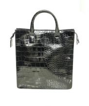 FURLA UOMO(フルラ ウオモ)の古着「クロコ型押しレザーハンドトートバッグ」|ブラック
