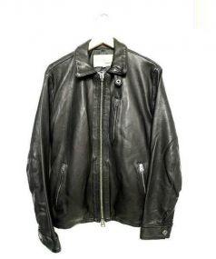 AVIREX(アヴィレックス)の古着「シープスキンレザーシングルライダースジャケット」 ブラック