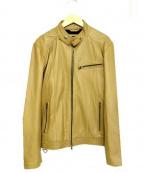 liugoo leathers(リューグーレザーズ)の古着「シープレザーシングルライダースジャケット」 ブラウン