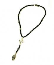 KING BABY(キングベイビー)の古着「ローズスカルロザリオネックレス」|ブラック × シルバー