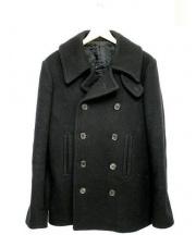 LITHIUM HOMME(リチウム オム)の古着「カシミヤ混メルトンPコート」|ブラック