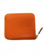 HERMES(エルメス)の古着「シルクインコンパクトラウンドファスナー財布」|オレンジ