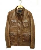 liugoo leathers(リューグーレザーズ)の古着「ホースレザージャケット」 ベージュ