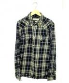 REMI RELIEF(レミレリーフ)の古着「フラワースタッズウエスタンチェックシャツ」|ブルー