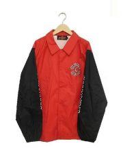 Sunny C Sider(サニーシーサイダー)の古着「アームロゴプリントコーチジャケット」|レッド×ブラック