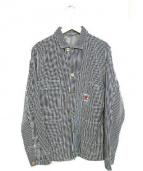 TCB jeans(ティーシービー ジーンズ)の古着「ヒッコリーカバーオール」|ブルー×ホワイト