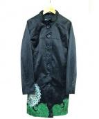 Desigual(デシグアル)の古着「プリントスタンドカラーコート」|ネイビー