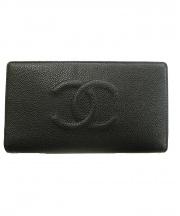 CHANEL(シャネル)の古着「キャビアスキンフラップ長財布」|ブラック