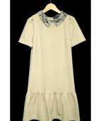 MS GRACY(エムズグレイシー)の古着「半袖装飾ワンピース」|ベージュ