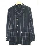 SUN/kakke(サンカッケー)の古着「PLAIDダブルプレストジャケット」|NAVY