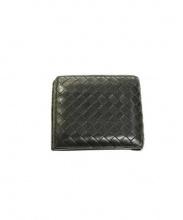 BOTTEGA VENETA(ボッテガベネタ)の古着「イントレチャートレザー2つ折り財布」|ブラック