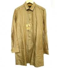 Enharmonic TAVERN(エンハーモニック・タヴァーン)の古着「リネン混プリーツロングシャツ」|ブラウン