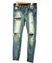 mnml(ミニマル)の古着「クラッシュデニムパンツ」|ブルー