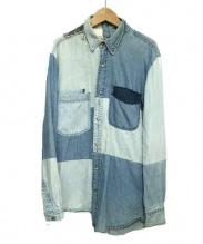 ISAMU KATAYAMA BACKLASH(イサムカタヤマ・バックラッシュ)の古着「再構築リメイクデニムシャツ」 ブルー