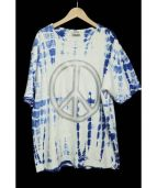 Acne studios(アクネストゥディオズ)の古着「ピースサインプリント染色Tシャツ」 ブルー×ホワイト