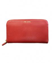 PRADA(プラダ)の古着「ラウンドファスナー財布」|レッド