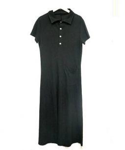 Yohji Yamamoto(ヨウジヤマモト)の古着「ポロシャツリネン混ワンピース」|ブラック