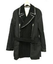 BALENCIAGA(バレンシアガ)の古着「ネップ加工切替コート」|ブラック