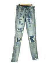 EV BRAVADO(エブ ブラバド)の古着「ダメージ加工デニムパンツ」|ブルー
