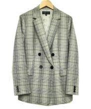 INDIVI(インディビ)の古着「グレンチェックダブルテーラードジャケット」 ブラック×グレー